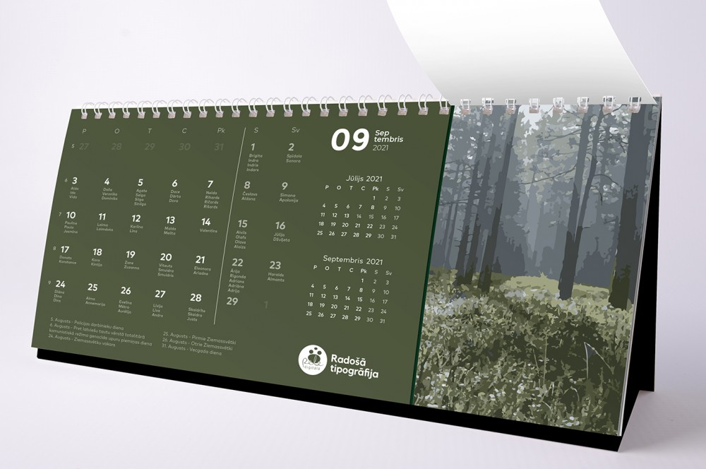 Kalendāru druka ar dizaina papīriem