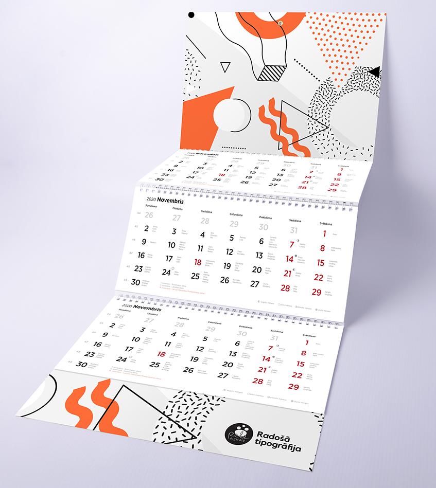 trīs spirāļu sienas kalendāra izgtavošana 2020