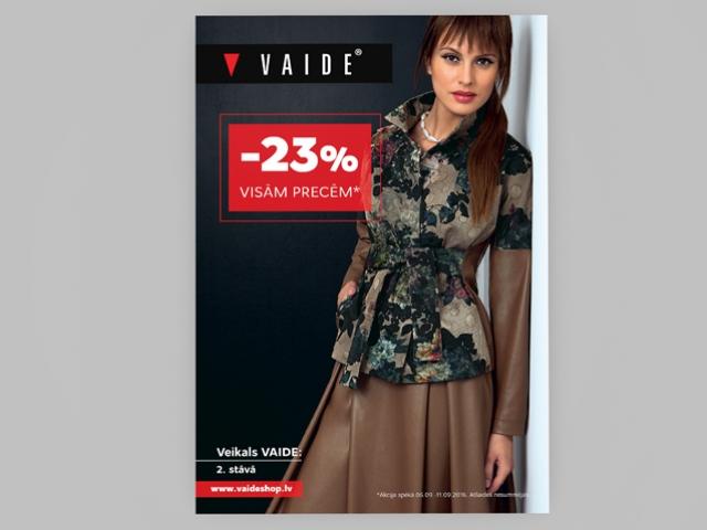 Vaide apģērbu ražotāja sezonas plakāta grafiskais dizains