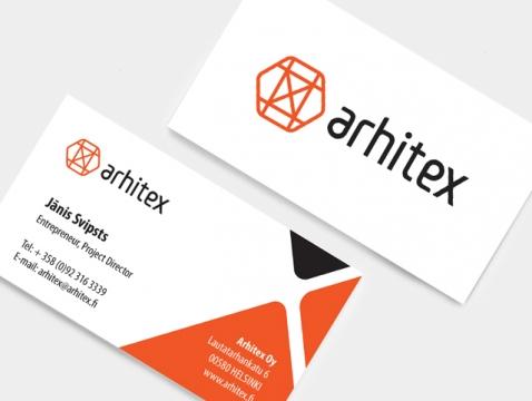 Arhitex konstrukciju ražotājam logo izstrāde un vizītkaršu dizains.