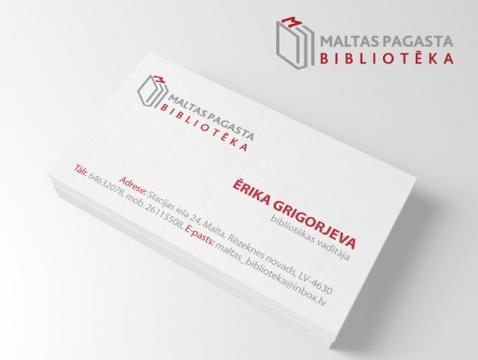 Maltas bibliotēkas logo izstrāde un vizītkartes grafiskais dizains