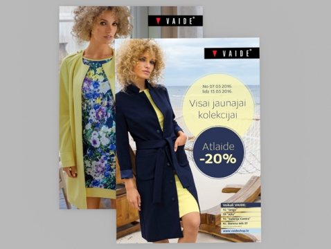 Vaide  veikalu apģērbu ražotāja sezonas plakāta grafiskais dizains