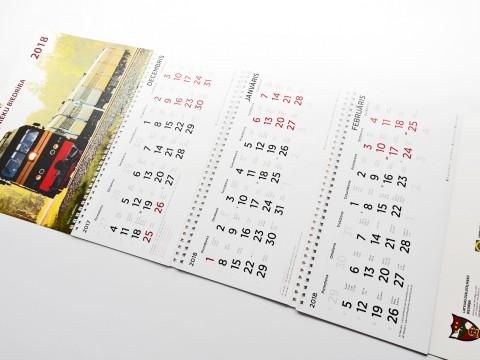 Trīsspirāļu kalendāru druka