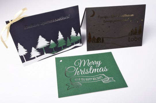Printing postcards with gold foil
