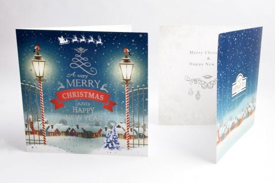 Рождественские открытки напечатаны с серебром