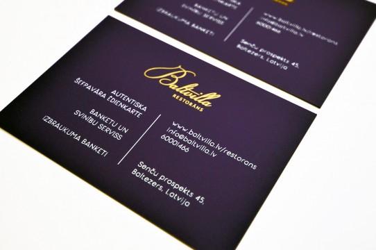 Vizītkartes druka ar zeltu un baltu krāsu